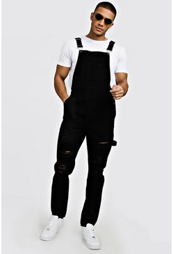 Black Slim Fit Denim Dungarees With Distressing