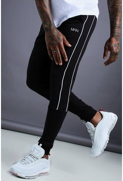 Black svart MAN Tapered Jersey Jogger With Side Piping