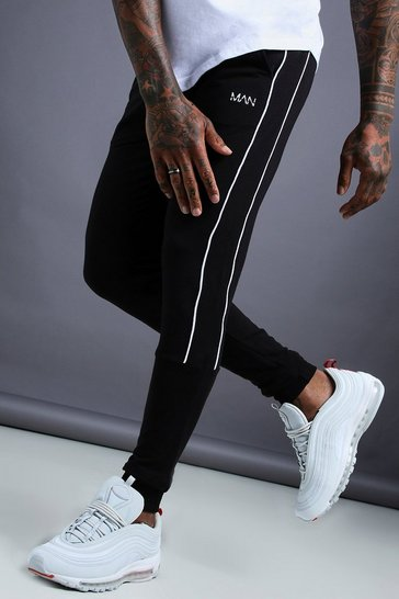 Black MAN Tapered Jersey Joggers With Side Piping