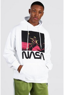 White Oversized Nasa Astronaut License Hoodie