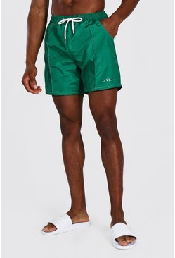 Forest green Man Signature Pin Tuck Mid Length Swim Short