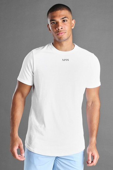 White MAN Curved Hem Short Sleeve T-Shirt
