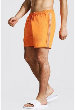 Man Tape Mid Length Swim Short, Orange