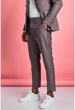 Taupe Skinny Fit Plain Suit Trouser