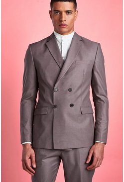 Taupe Skinny Plain Double Breasted Horn Button Jacket
