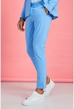Light blue Enfärgade kostymbyxor i skinny fit