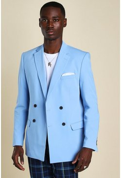 Light blue blue Skinny Double Breasted Horn Button Jacket