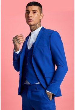 Cobalt blue Skinny Fit Plain Suit Jacket