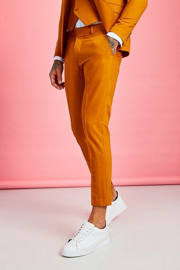 Mustard yellow Skinny Fit Plain Cropped Trouser