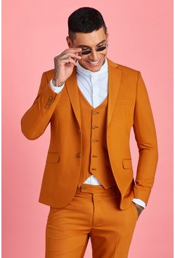 Mustard yellow Skinny Fit Plain Suit Jacket