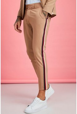 Taupe beige Skinny Fit Tape Detail Suit Trouser