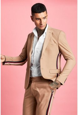 Taupe beige Skinny Fit Tape Detail Suit Jacket