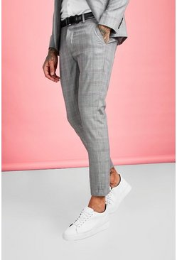Brown Skinny Fit Smart Check Suit Pants