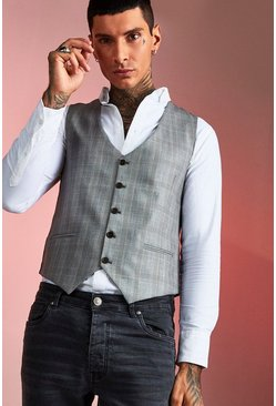Brown Smart Check Skinny Fit Waistcoat