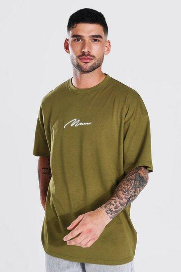 Khaki Oversized Man Signature Embroidered T-shirt
