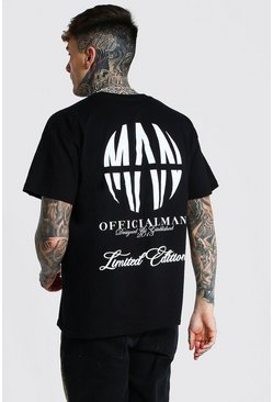 Black Oversized Official Man Logo Printed T-shirt