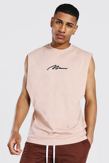 Taupe beige Man Signature Drop Armhole Embroidered Tank