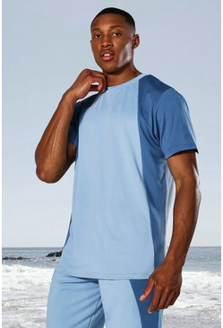 Dusty blue blue Man Active Tonal Colour Block T-shirt
