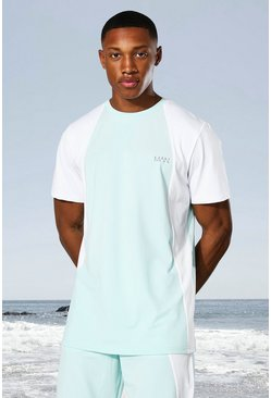 Mint green Man Active Tonal Colour Block T-shirt