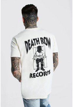 Sand beige Oversized Death Row Front & Back Print Tee