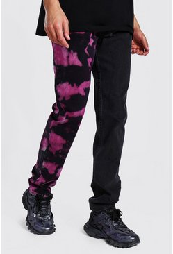Black Tall Straight Leg Tie Dye Spliced Jean