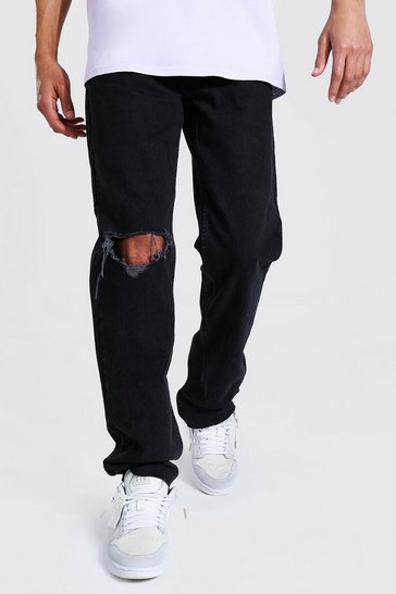 Black Tall Straight Leg Jean With Exploded Knee