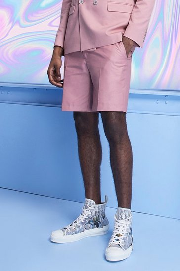 Pink Plain Skinny Fit Tailored Shorts