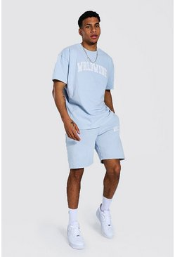 Light blue blue Oversized Overdyed Wrldwide T-shirt Short Set