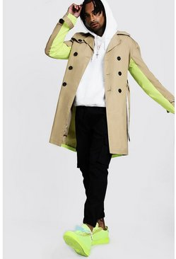 Camel Trench Coat With Contrast Colour