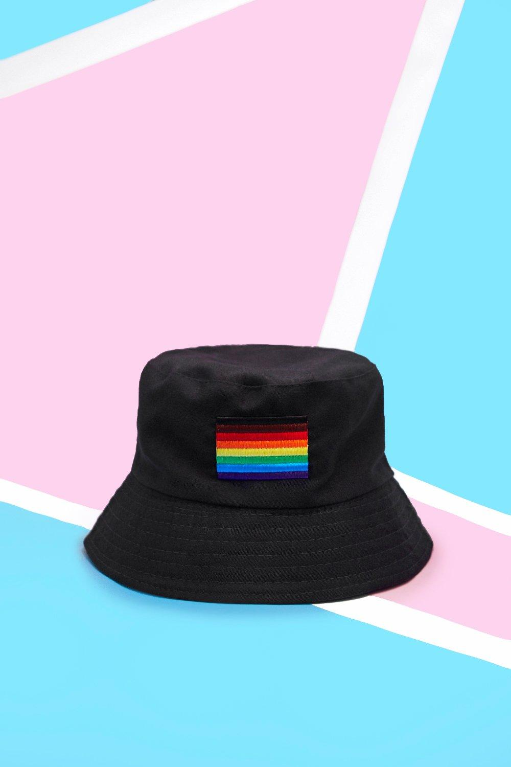 Pride Bucket Hat With Rainbow Flag Embroidery Boohoo
