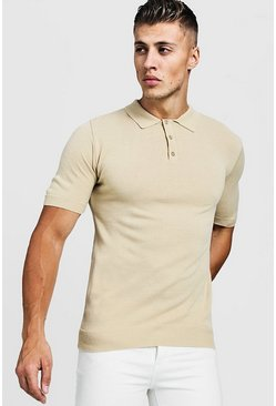 Camel beige Muscle Fit Short Sleeve Knitted Polo