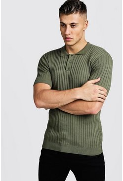 Khaki Muscle Fit Ribbed Knitted Polo