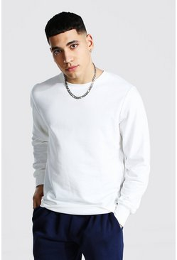 White Basic Crew Neck Fleece Sweatshirt