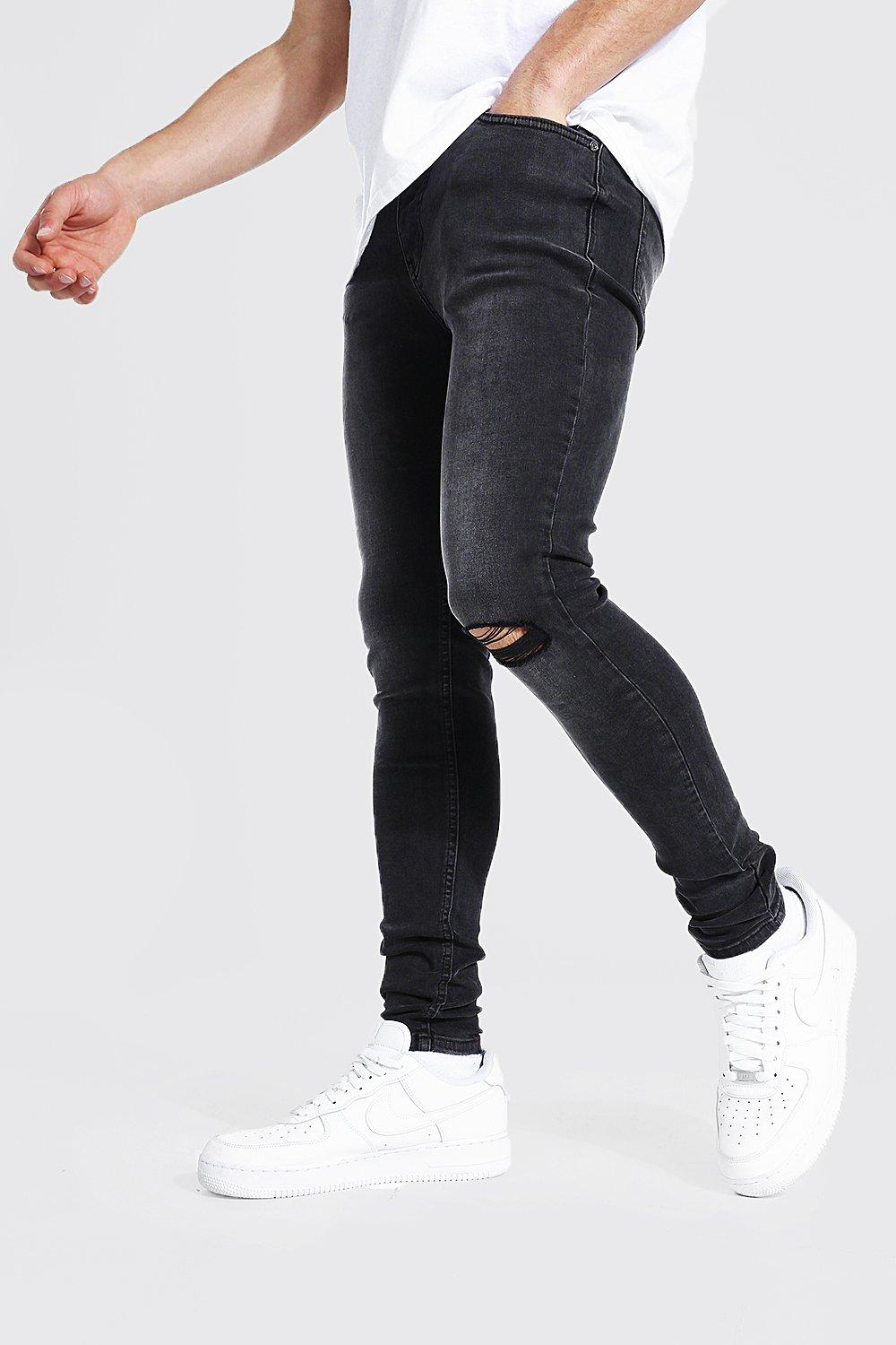 """BOOHOO MAN SLIM FIT JEANS WITH BUSTED KNEES WAIST 32/"""" REGULAR ONLY £14.99"""