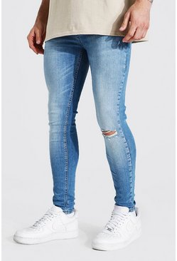 Light blue blue Super Skinny Busted Knee Jean