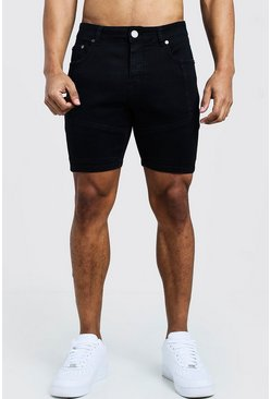 Black Skinny Fit Denim Shorts With Biker Panelling