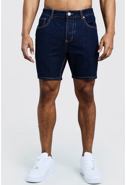 Indigo Slim Fit Denim Shorts With Contrast Stitch