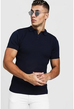 Navy marinblå Muscle Fit Cable Knit Polo