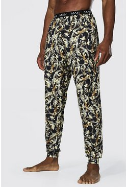 Black Baroque Printed Lounge Jogger