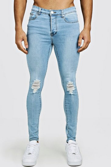 Light blue blue Spray On Skinny Fit Jeans With Ripped Knee