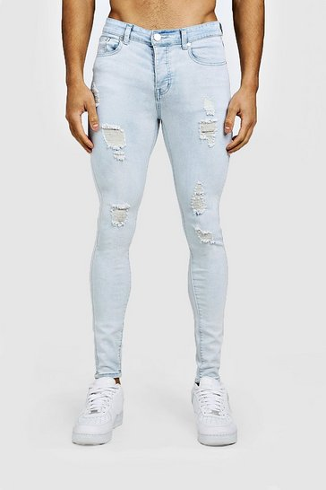 Ice blue Spray On Skinny Jeans With Distressing