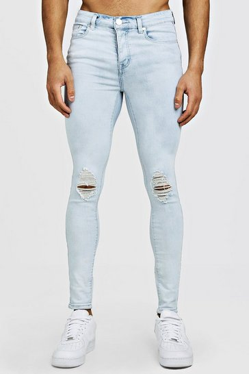 Ice blue Spray On Skinny Jeans With Ripped Knee