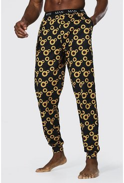 Black Sunflower Print Lounge Jogger