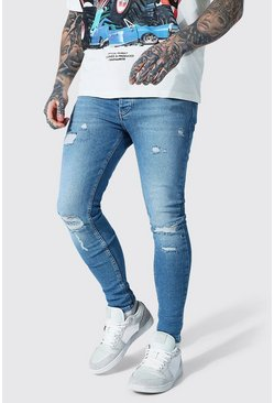 Mid blue Super Skinny Knee Slash Distressed Jean