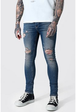 Vintage blue Super Skinny Knee Slash Distressed Jean