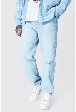 Ice blue Relaxed Fit Knee Slash Jean