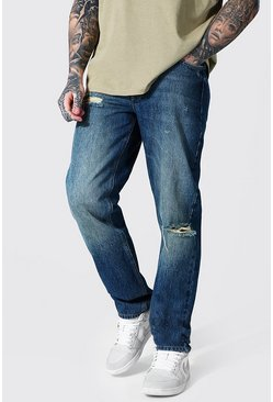 Vintage blue blue Relaxed Fit Knee Slash Jean