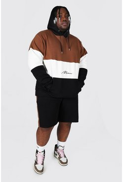 Black Plus Size Man Colour Block Short Tracksuit