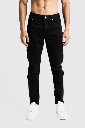 Black Tapered Fit Denim Jeans With Ripped Knee