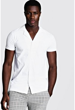 White Short Sleeve Jersey Shirt With Revere Collar